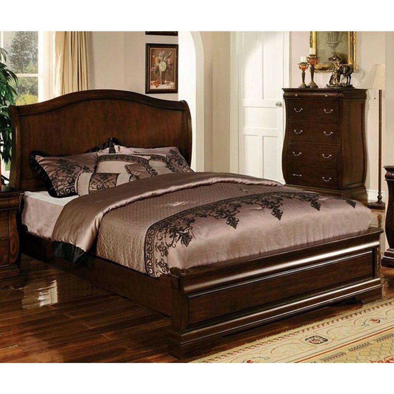 Furniture of America Esperia Queen Bed in Dark Walnut Finish