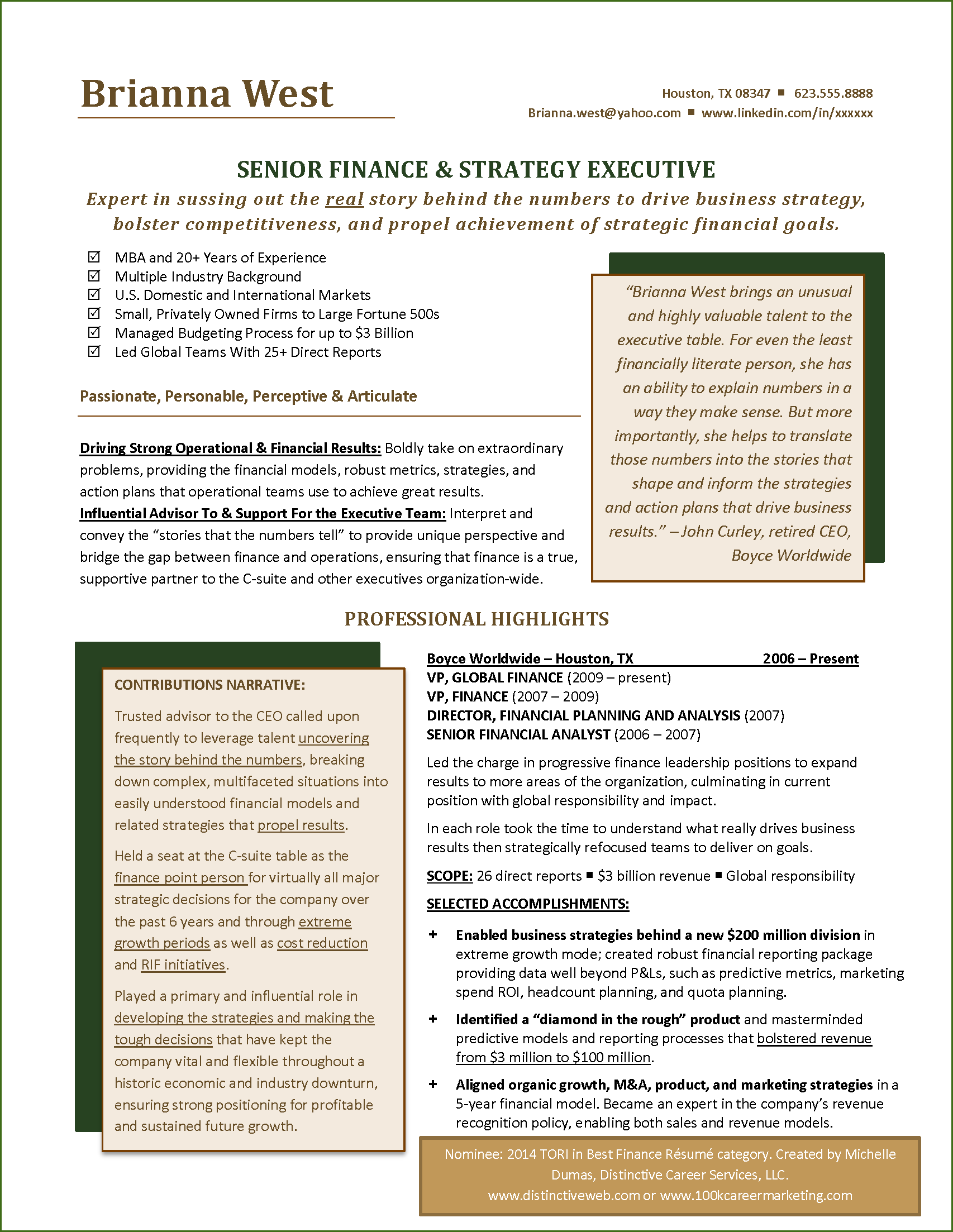 M And A Analyst Sample Resume Tori Award Nominee Best Financial Resume  Resume Examples .