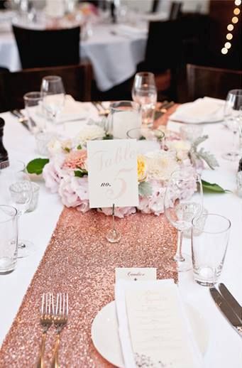 Rose Gold Sequin Table Runner Hire From Www
