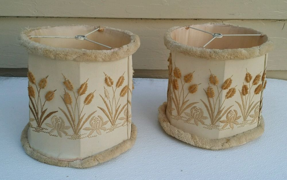 Pair Vintage Retro Embroided Cloth/Cotton Fringed Lamp Shades