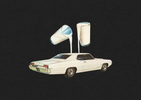 """White car by Lenny CollageArt 