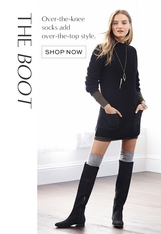 c6a4ea39d4c How to wear long socks with boots. Nicely paired with a layered sweater  dress. Cuuuute!!
