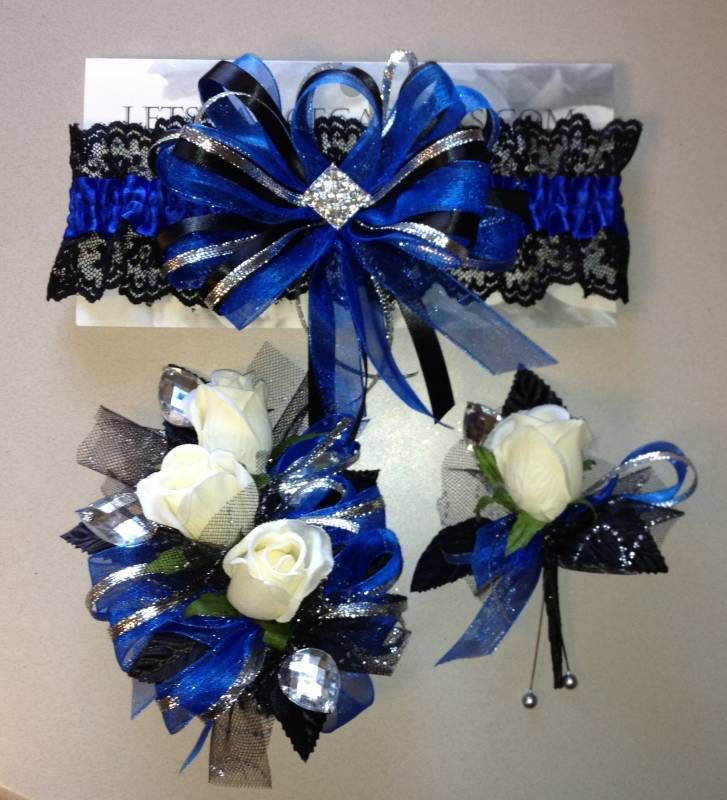 royal blue garter corsage boutonniere set prom