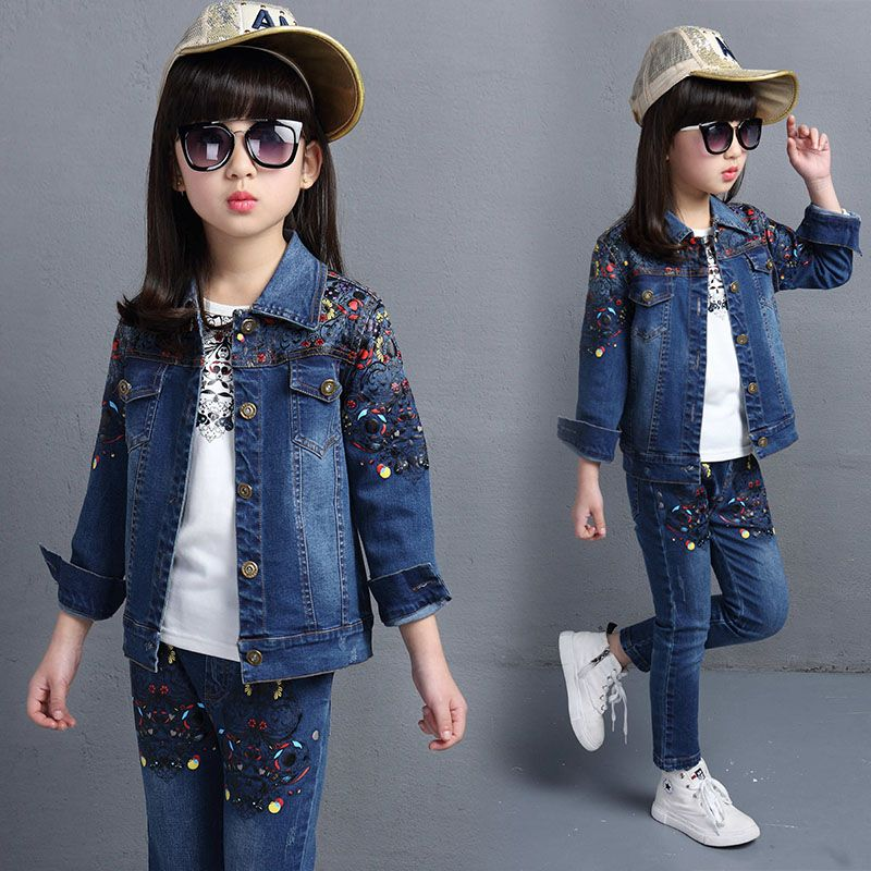 ba99e9767 4-14 years Spring fall Style small flower Girls clothing set Denim ...