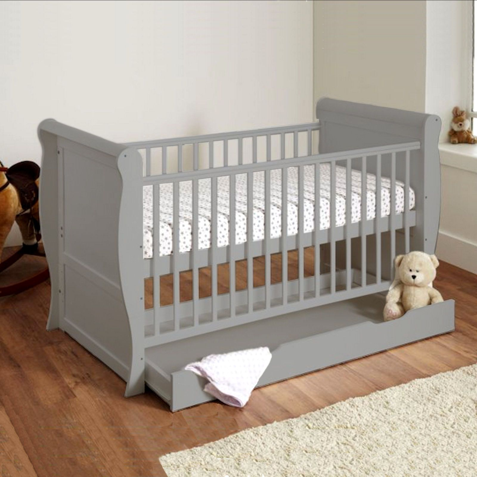 4baby 3 In 1 Sleigh Cot Bed With Maxi Air Cool Mattress Grey Buy At Online4baby In 2020 Baby Mattress Cool Baby Stuff Sleigh Cot Bed