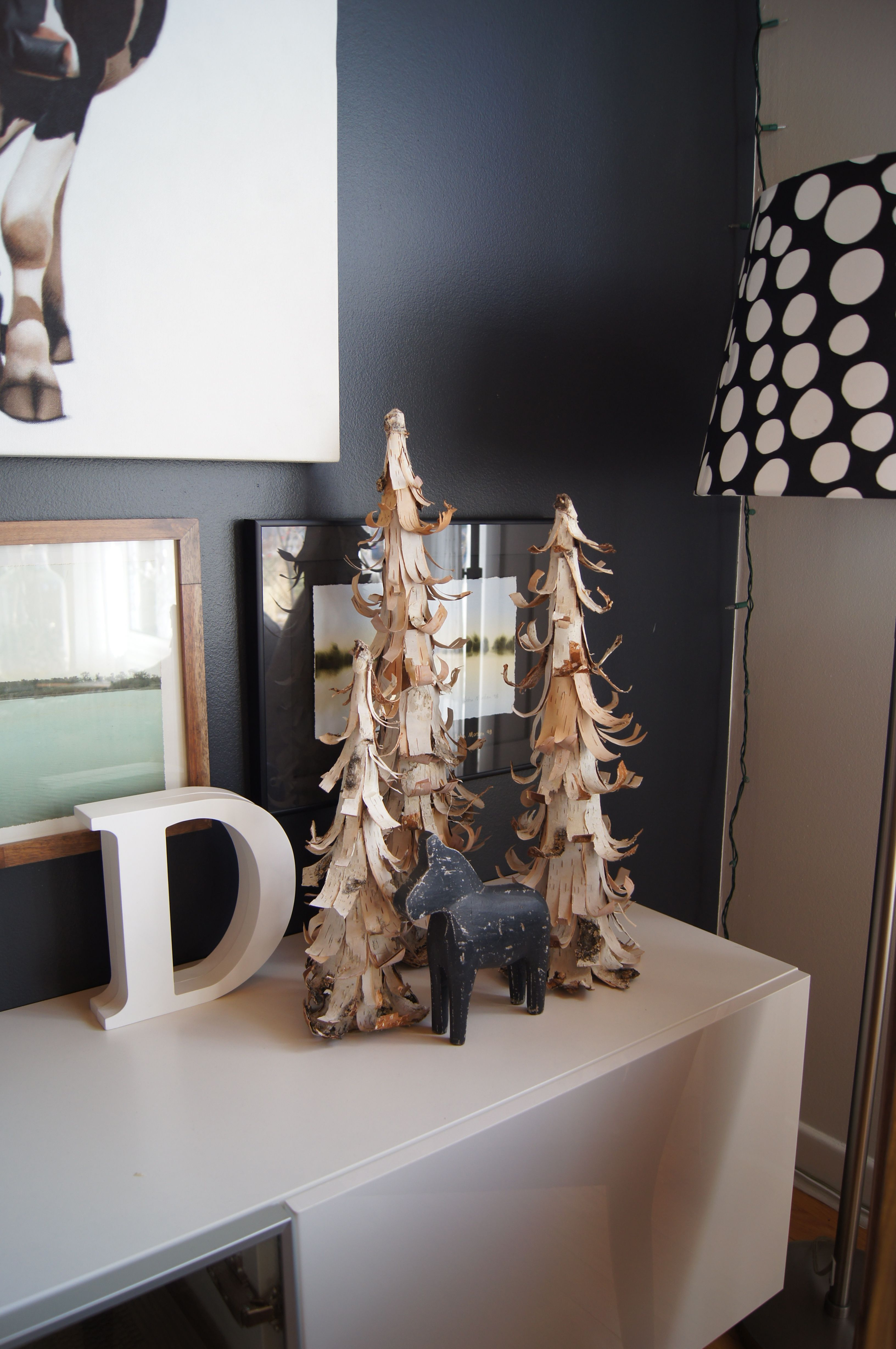 Birch Christmas Trees....our friends mom makes these out of cardboard and fallen birch trees.  Simple and beautiful.