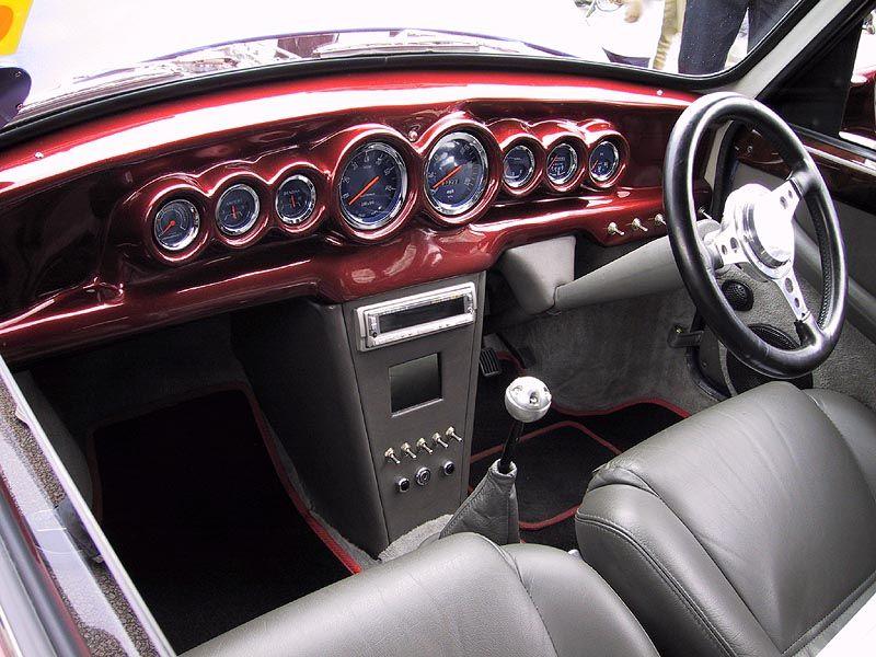 classic mini interior custom red innocents mini cooper 1300 dash jaeger instruments. Black Bedroom Furniture Sets. Home Design Ideas