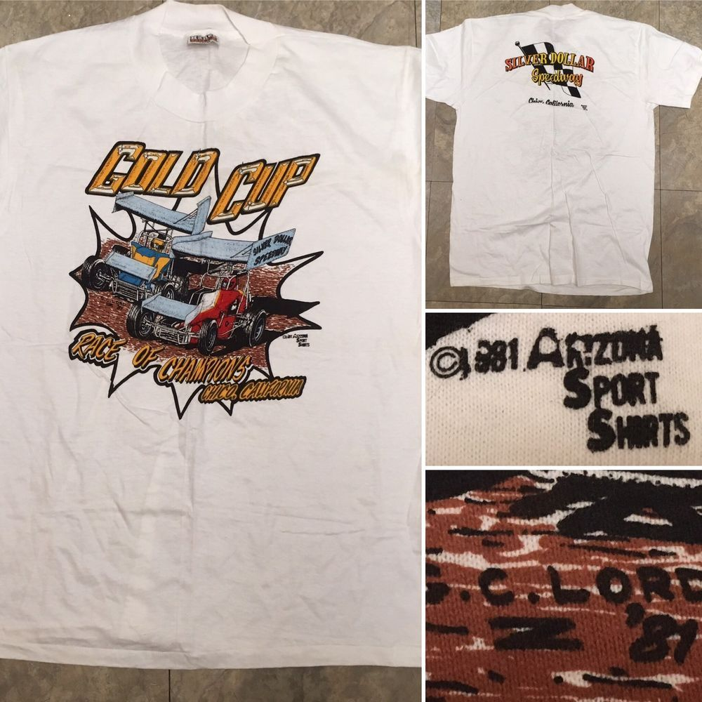 True Vintage Gold Cup Silver Dollar Speedway Chico Ca 1981 T Shirt L