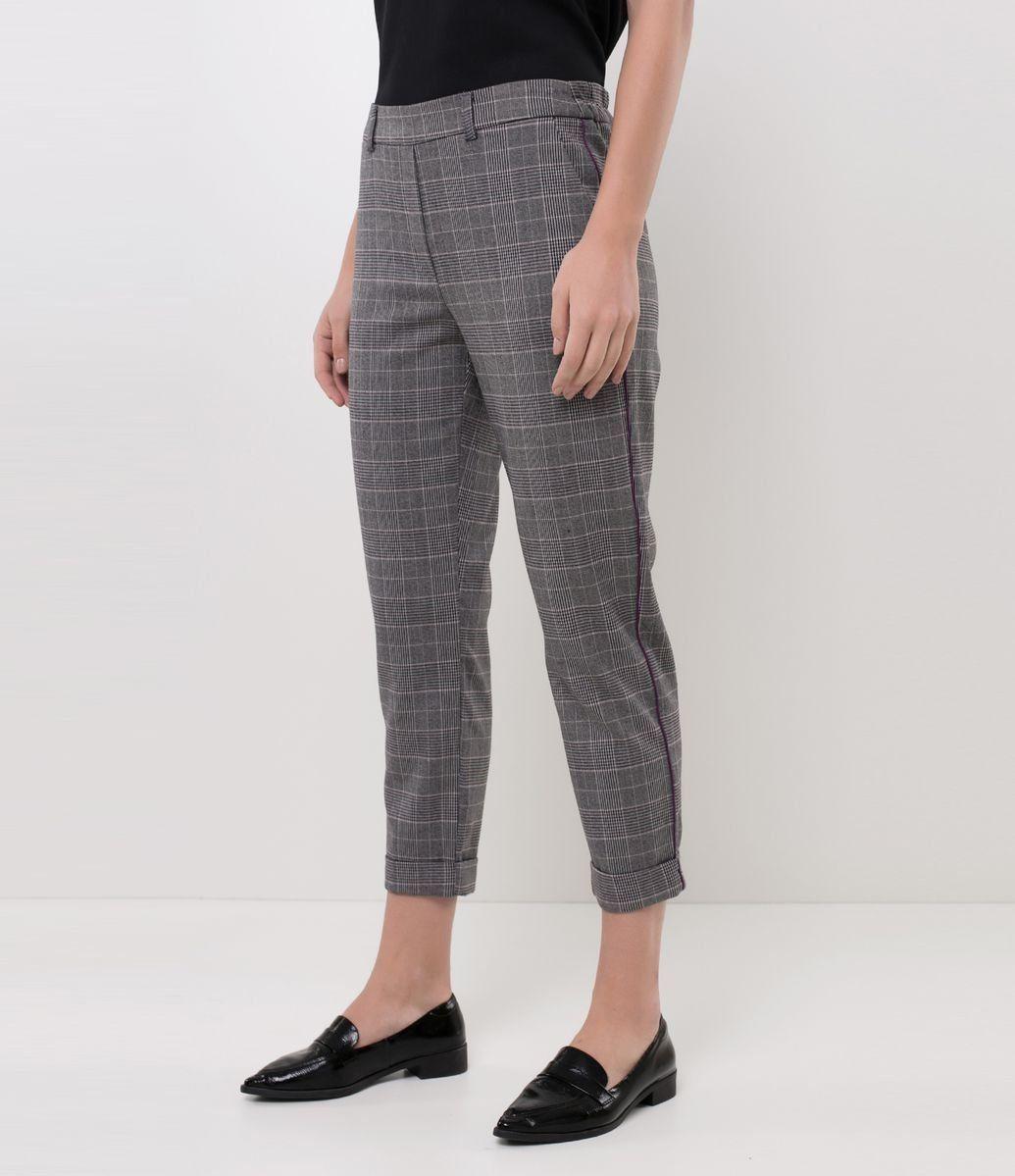 Calça Feminina Xadrez Alfaiataria Preta | Modelos de calças