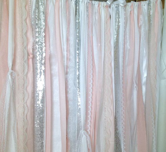 Blush Silver Sequin Curtains Sparkle And Bling In This Long Fabric Ribbon Garland 7 Foot