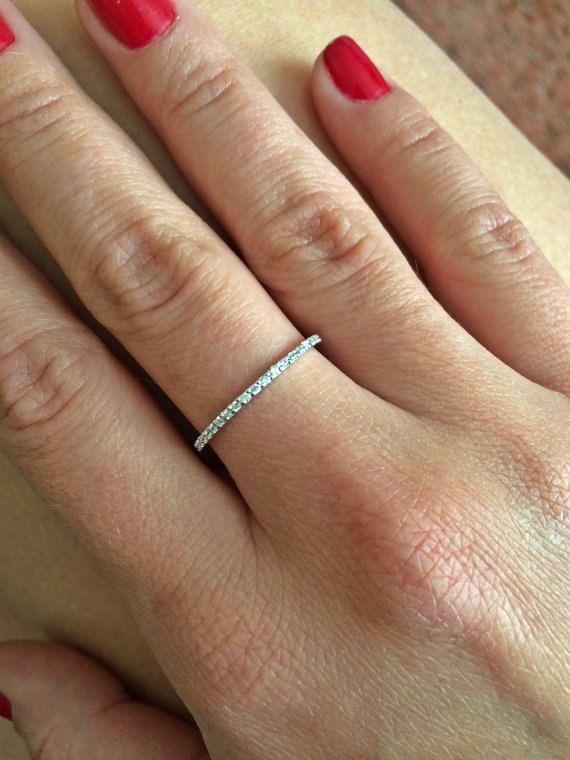 1 3mm Super Thin Half Eternity Band 14k White Gold Micro Pave F Vs2 Si1 0 23ctw Diamond Ring Wedding Anniversary Ban