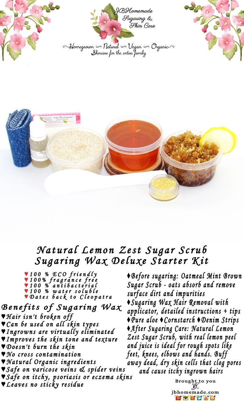 Sugaring Wax Hair Removal Starter Kit Oatmeal Scrub