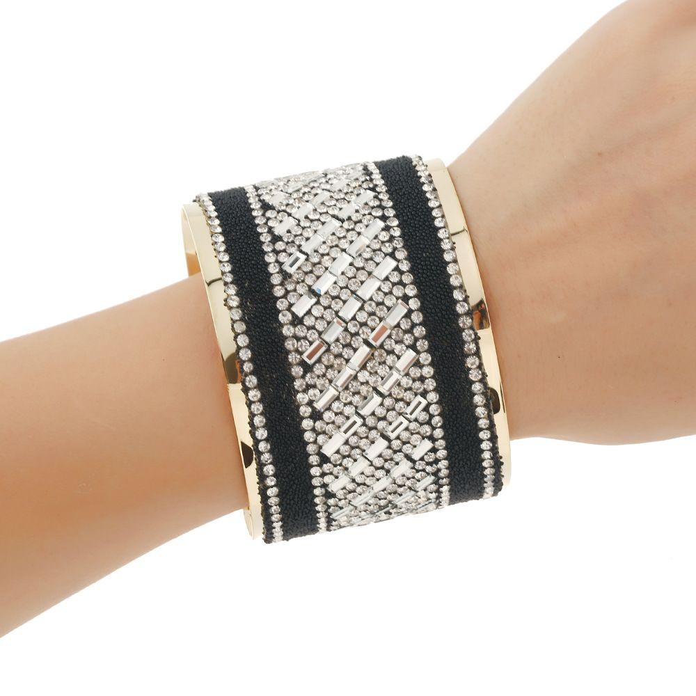 Crystal curved bracelet bohemian statement bangles letter