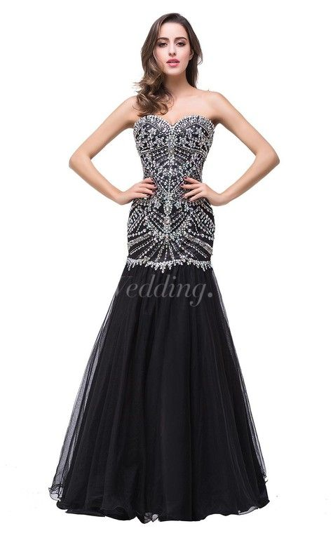 Glamorous Crystals Black Mermaid 2016 Prom Dress Sweetheart Sleeveless Zipper