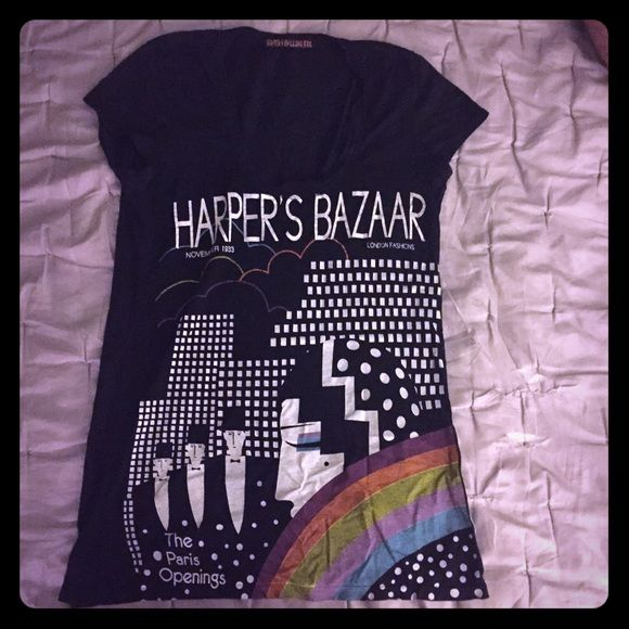 Harper's Bazaar t- shirt Graphic city tee. Flattering scoop neck and short tee shirt sleeves. This tee is long in the body and cut to be slighted fitted. Tops Tees - Short Sleeve