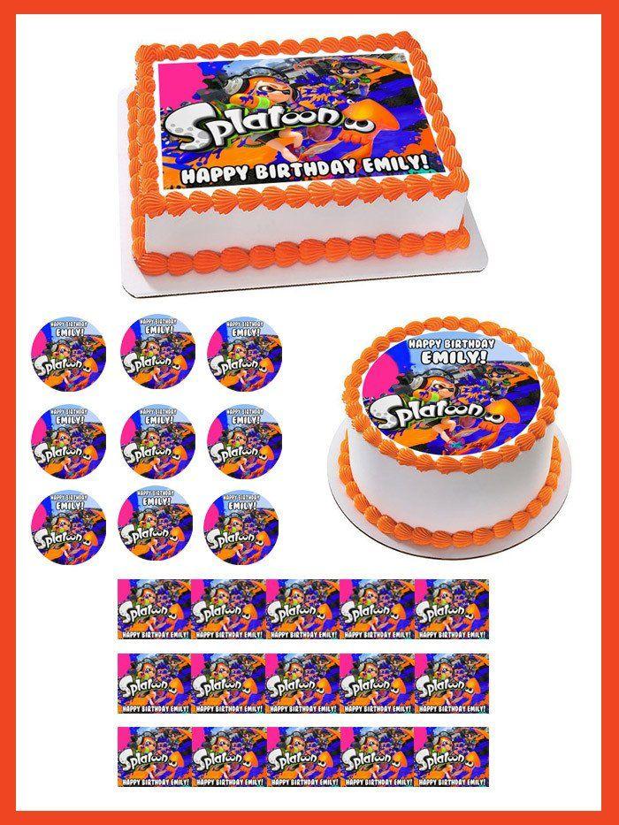 Splatoon Edible Birthday Cake Topper OR Cupcake Topper ...