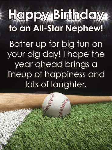 To An All Star Nephew Happy Birthday Card Want To Hit A Homerun