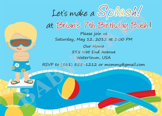 Splash pad birthday invitation invite splish splash party invitation - birthday invitation pool party