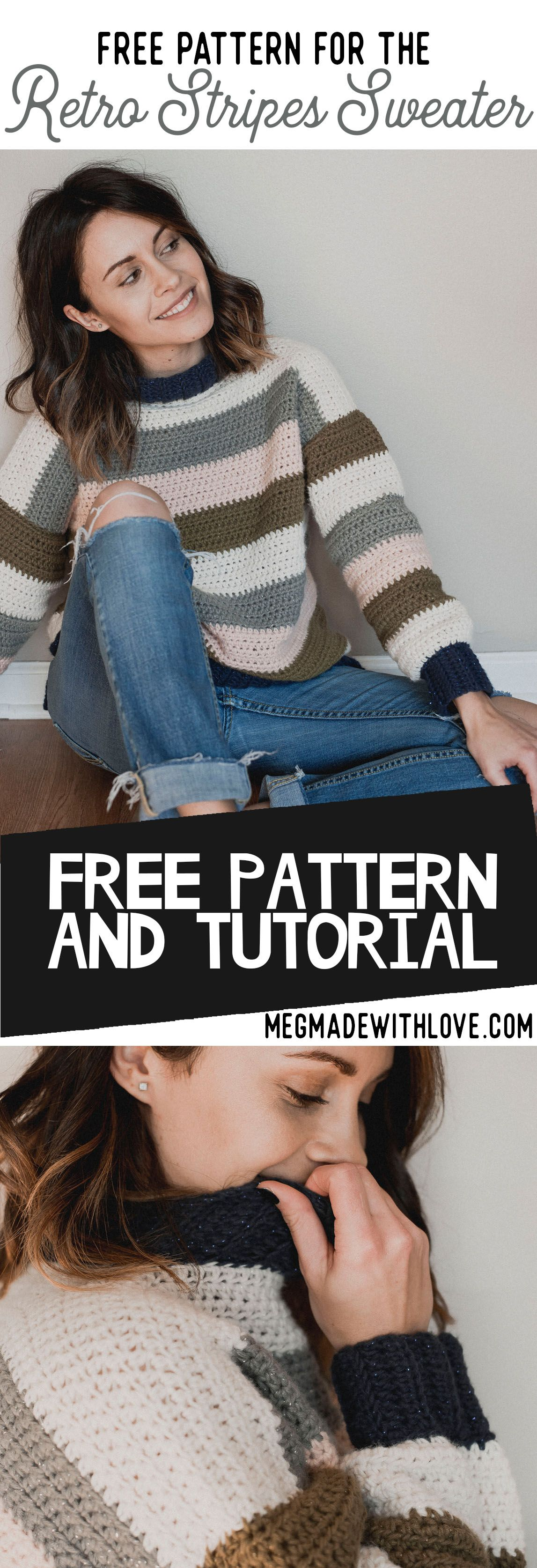 Free Crochet Pattern - Retro Stripes Sweater #sweatercrochetpattern