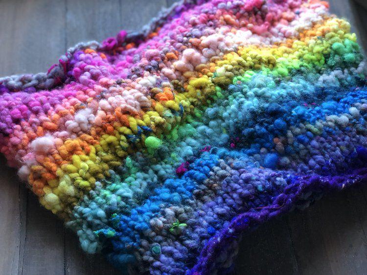Free Pattern: Bulky Quick Knit Rainbow Handspun Cowl ...