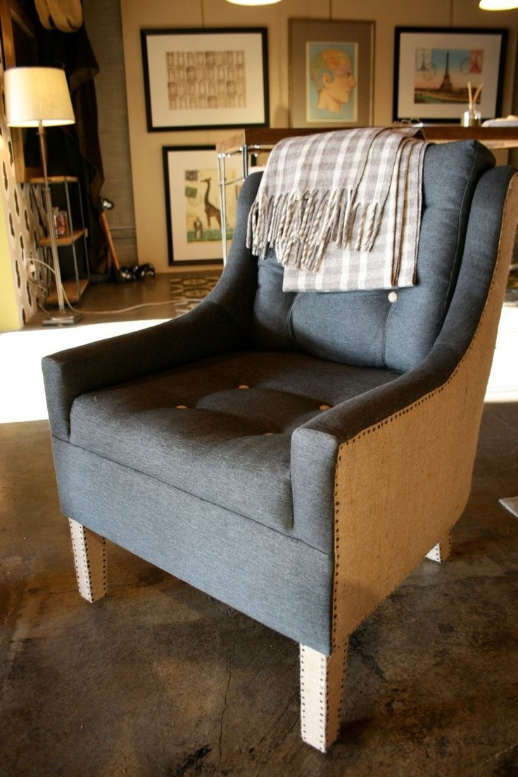 Ordinaire Gray And Burlap Upholstered Chair   Burlap And Hemp Upholstered Reading  Chair Vintage Nail By Robrray
