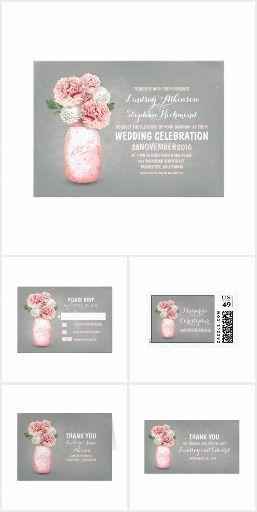 Painted Mason Jar Pink Peonies Wedding Collection