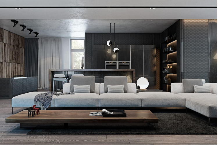 laminat in grau und wandverkleidung in zwei optiken holz und metall ideen rund ums haus. Black Bedroom Furniture Sets. Home Design Ideas
