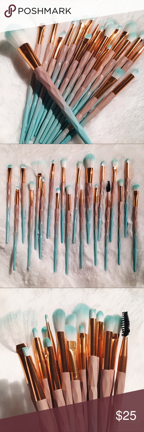Mermaid Vibes Luxury Makeup Brushes 20ct NEW 20 piece set