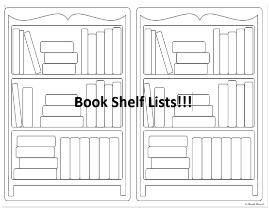 free printable book shelf list for book to read or books that have