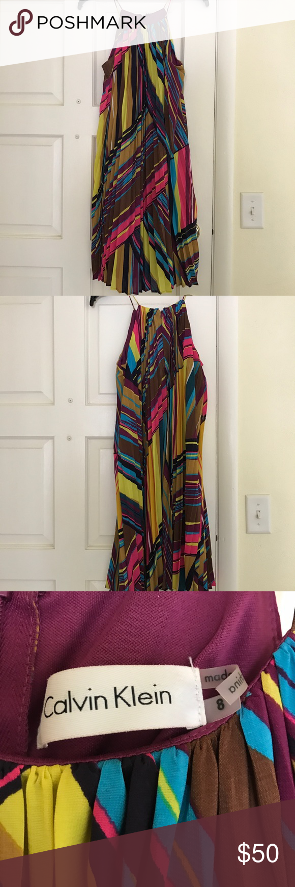 Calvin Klein Dress Size 8 Calvin Klein Dress. Size 8. Worn Once. Looks great belted! Calvin Klein Dresses