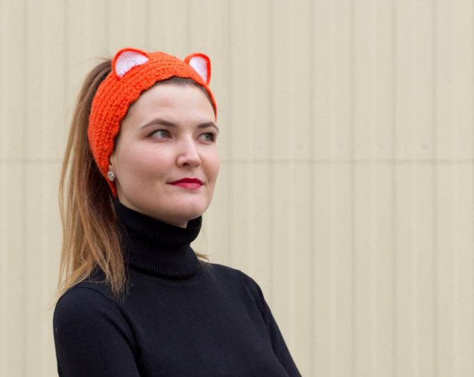 Knitted winter headband Cat hat Fox Ear warmer Red Orange Kitty ears ...