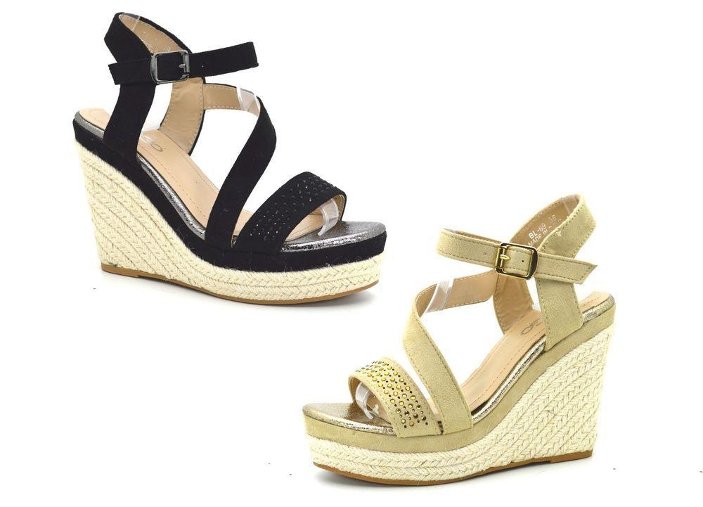 Sandali donna mare con strass tacco plateau camoscio e corda scarpe mare  estive ee83ebd9688