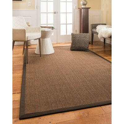 World Menagerie Bideford Hand Hooked Dark Brown Area Rug Natural