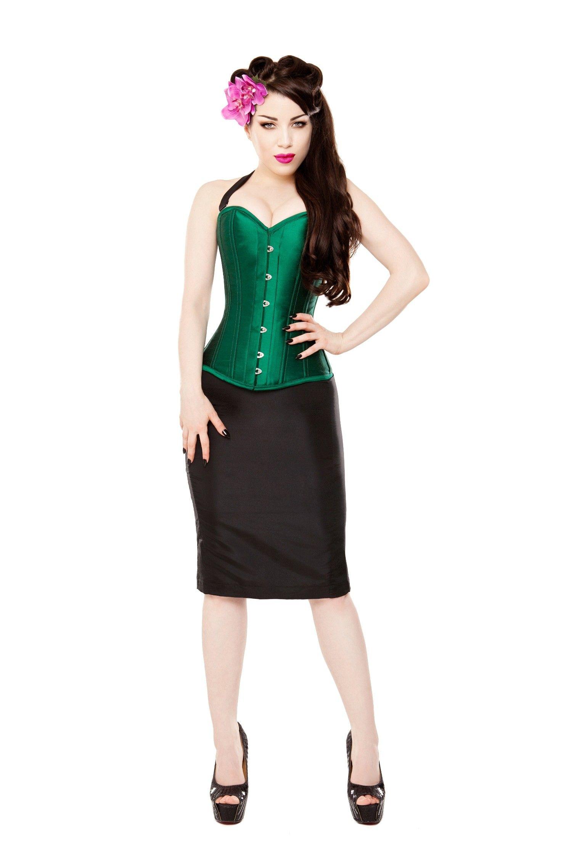 f7675007d2 Green Silk Corset With Purple Bolero   Skirt Outfit