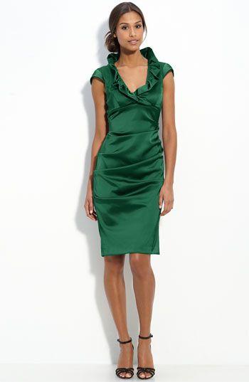 9682ac2f81 Xscape Ruffle Collar Stretch Satin Sheath Dress
