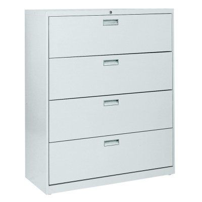 Sandusky Lee 600 Series 42 Inch 4 Drawer Lateral File Cabinet Black    19068R 09, Durable