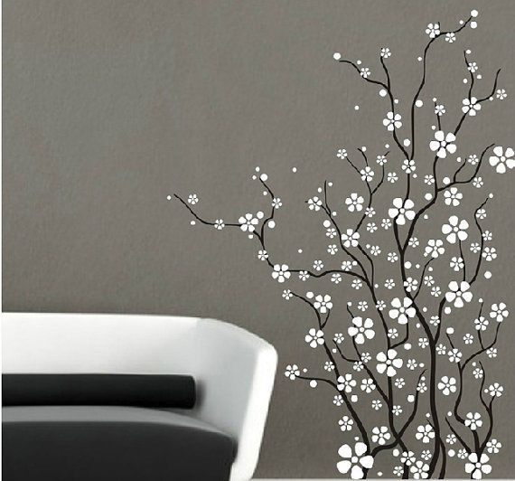 Flower With White Cherry Blossom Sticker Tree Branch Wall Decal For Bedroom Wall Decals For Bedroom Flower Wall Decals Vinyl Tree Wall Decal