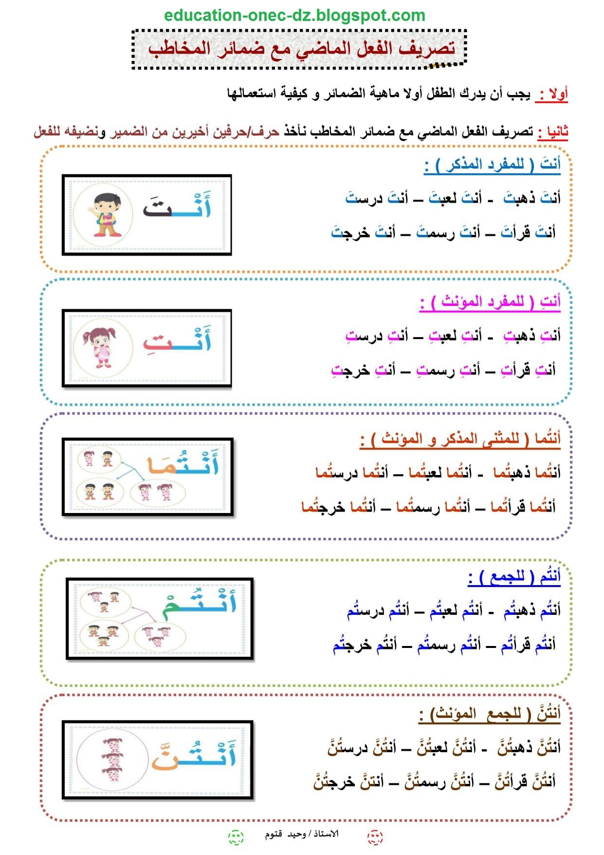 مدونة التعليم و التربية تصريف الفعل الماضي مع ضمائر المخاطب في اللغة العرب Education Blog School