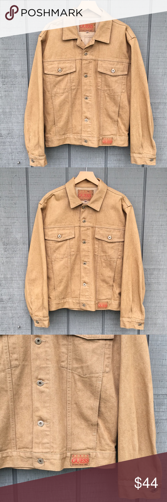 Vintage Guess Made In Usa Tan Trucker Jean Jacket Jackets Guess Jeans Mens Jackets [ 1740 x 580 Pixel ]