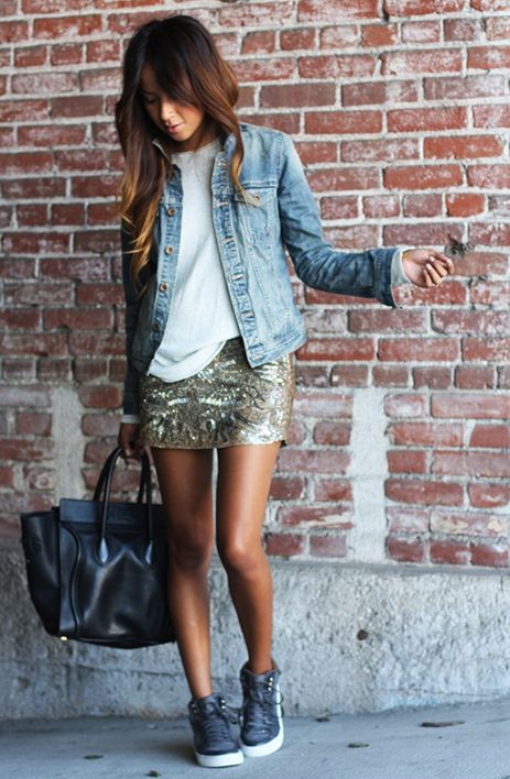 2752c40db como llevar falda lentejuelas - Buscar con Google | Shoes | Outfits ...