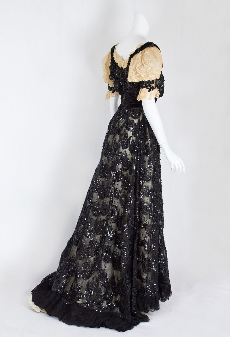 Sequined tulle evening gown c s fashion edwardian era