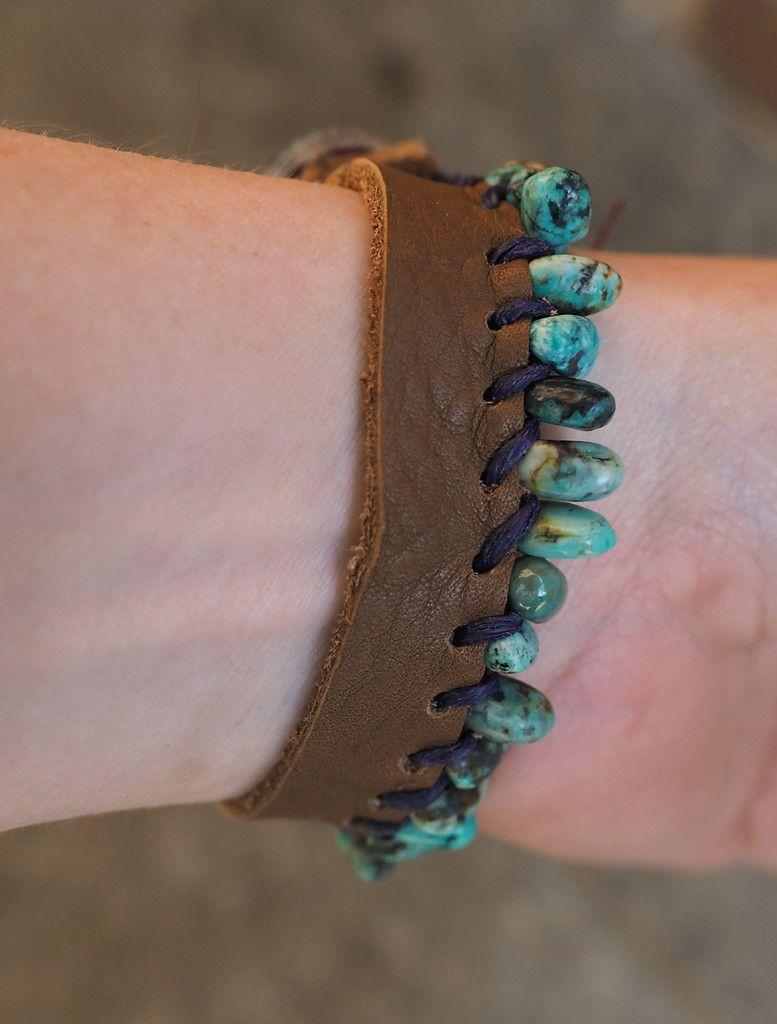 Fringed Turquoise Leather Bracelet (Customer Desig