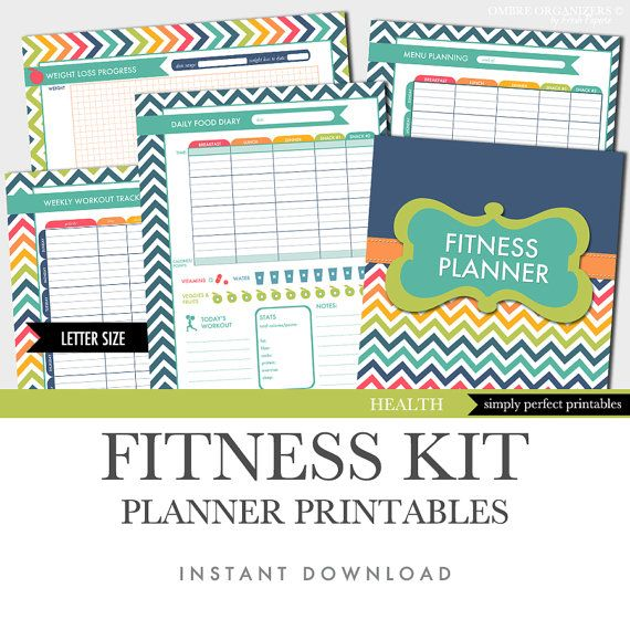 Fitness Planner - Weight Loss - Food Diary - Menu Planner - Workout