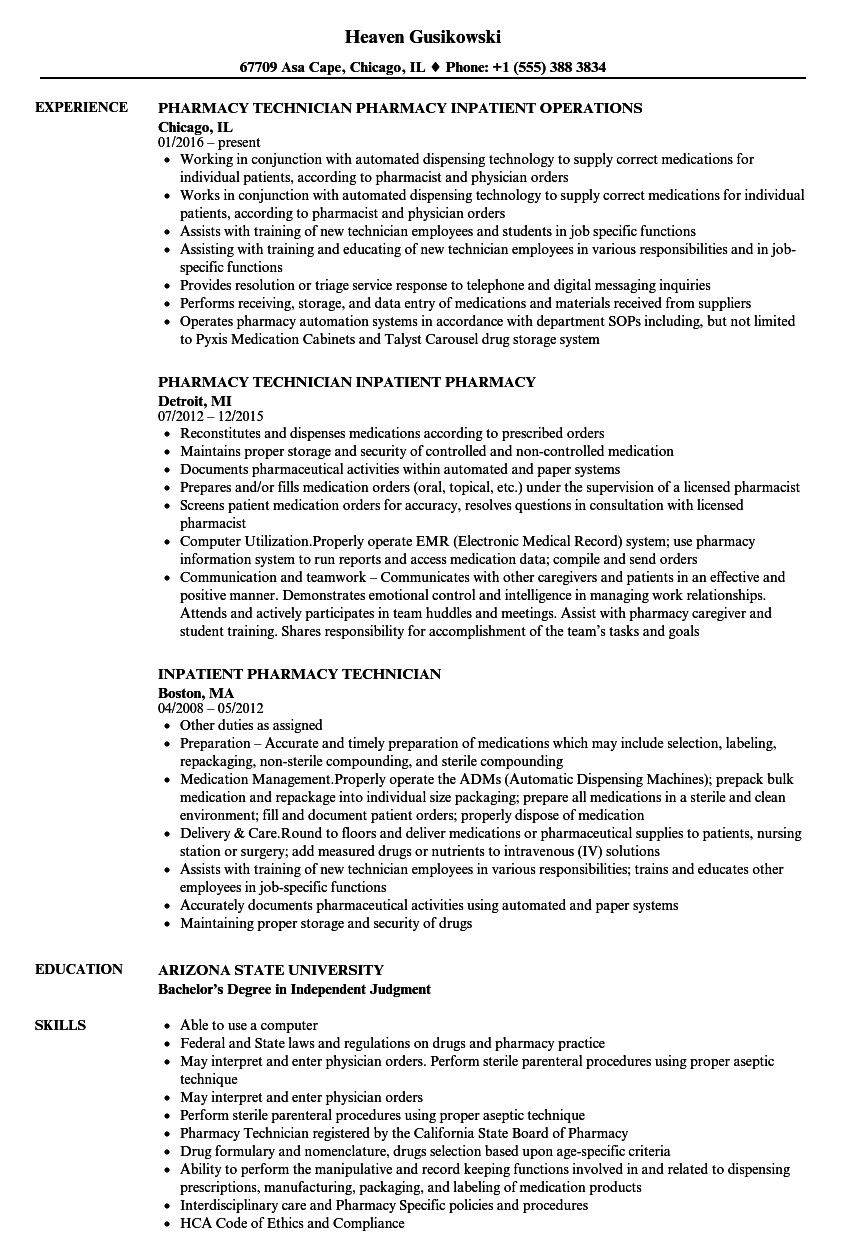 Resume for pharmacy tech excellent inpatient pharmacy