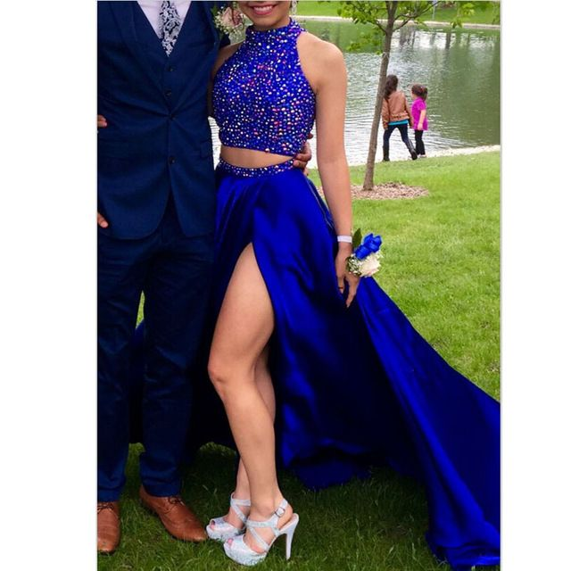Sexy Alta Neck Duas Peças Longo Vestido de Baile 2017 Azul Vestido de noite Side Slit Beading Colorido de Cristal de Luxo Vestido de Festa Graduatin