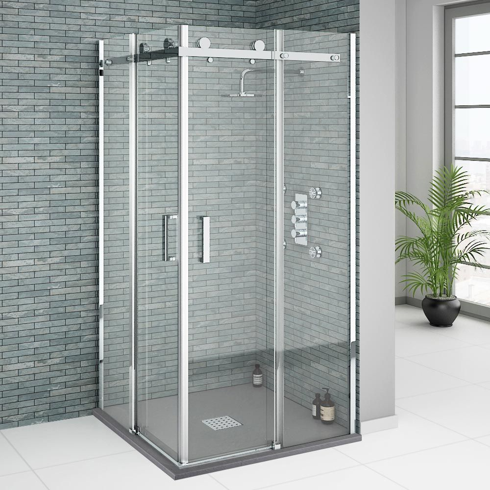 Orion Square 900 x 900mm Frameless Corner Entry Shower Enclosure ...