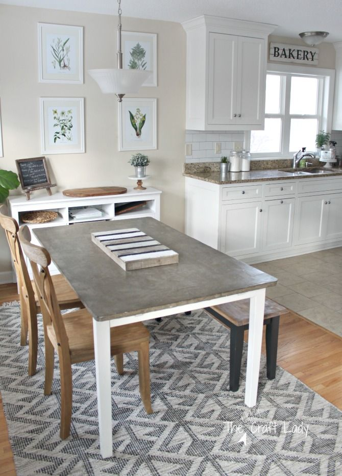 Casual Farmhouse Dining Room And DIY Concrete Table Top   Come See How My DIY  Concrete
