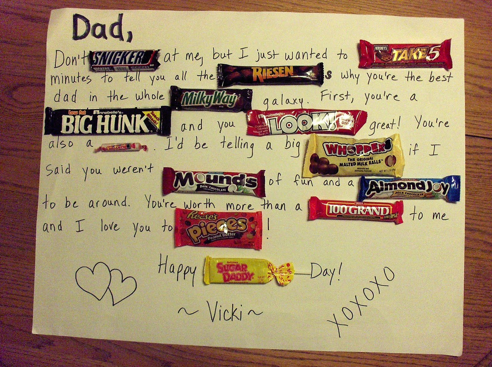 Poster design handmade - Handmade Card For Boyfriend Tumblr Fathers Day Candy Bar Poster