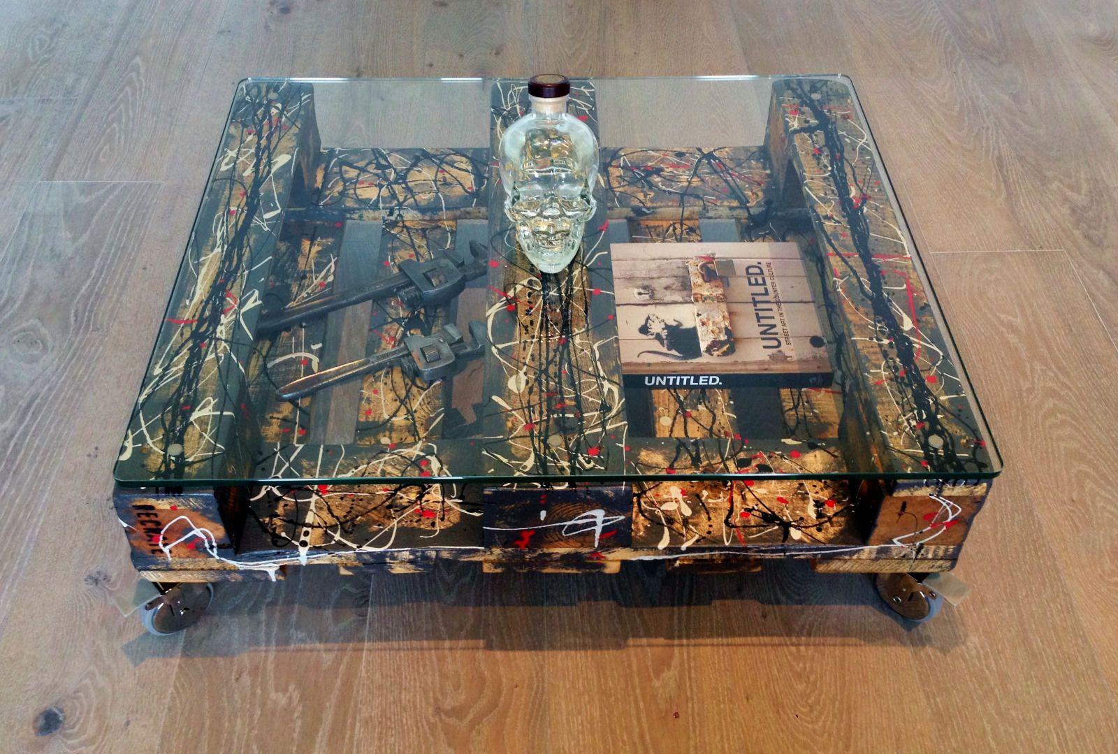 jackson pollock inspired coffee table reclaimed chic loft ...
