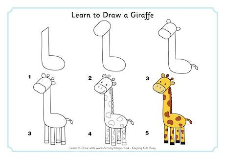 Learn to Draw a Giraffe | kids drawing | Easy animal ...